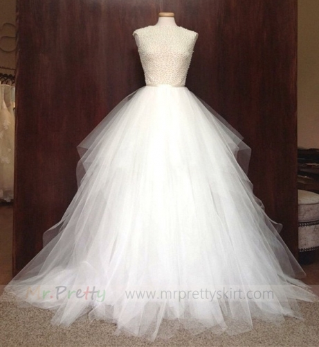 Ivory Short Train Wedding Skirt Bridal Skirt