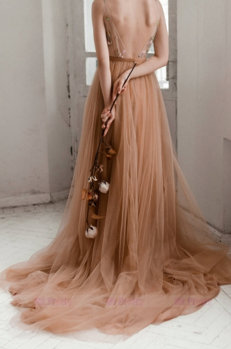 Brown Long Train Wedding Skirt Bridal Skirt