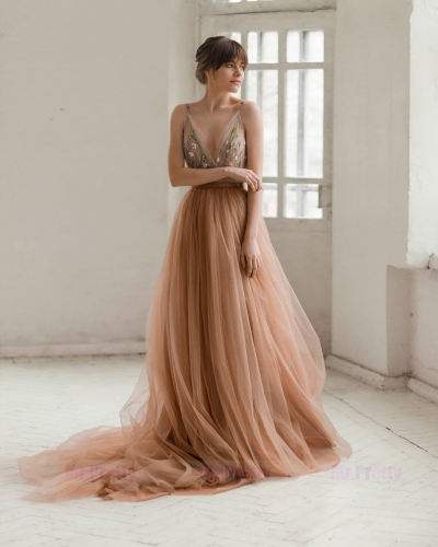 Dusty Coral Soft Tulle  Long Train Wedding Skirt Bridal Skirt Suit