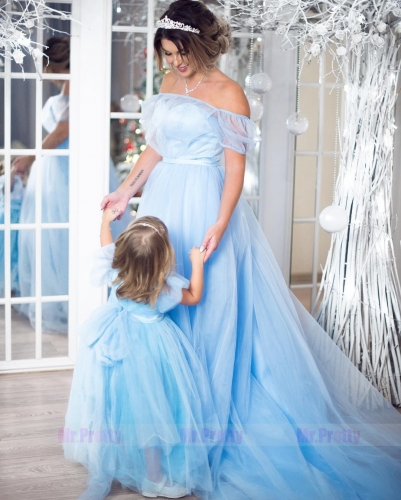 Blue Mother and Kids Wedding Party Dress  Parenting suit