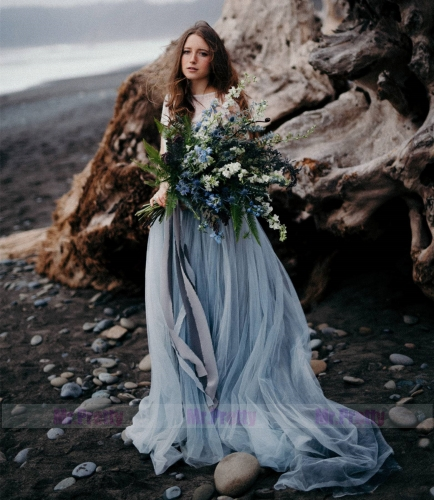 Grey Blue Long Train Bridal Skirt