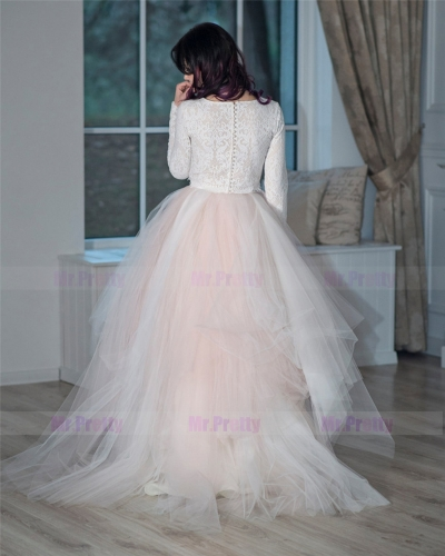 Blush Pink Long Train Tulle Skirt
