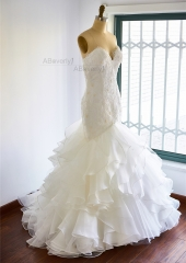 Ivory Organza  Mermaid Bridal Dress Wedding Gown