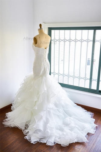 Ivory Organza Long Train Bridal Dress Wedding Gown
