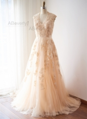 Champagne Lace Tulle Bridal Dress Wedding Gown