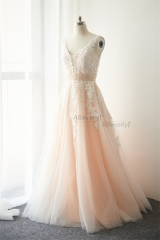 Ivory Lace Tulle Long Train Bridal Dress Wedding Gown