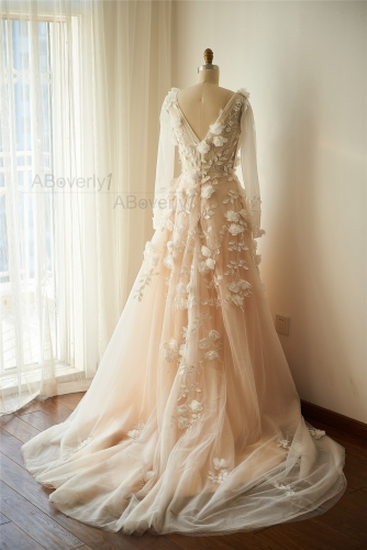 Champagne Tulle Ivory Lace  Bridal Dress Wedding Gown