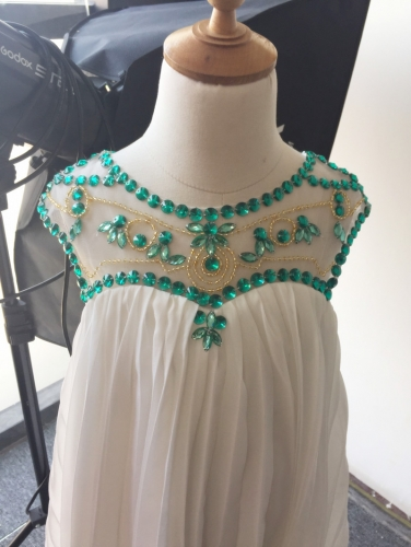 Green Beaded Ivory Chiffon Flower Girl Dress Pageant Dress