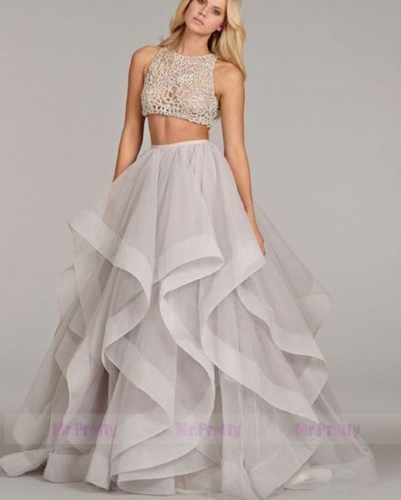 Grey Organza Full Legnth Bridal Skirt For Tennille Melcher