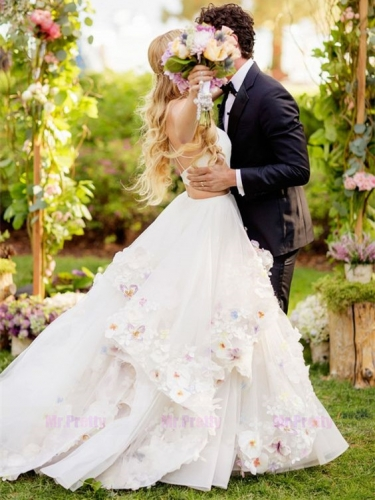 Ivory Tulle Flowers 2 Pieces Bridal Skirt Wedding Gown