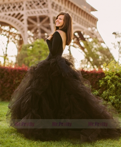 Black Full Legnth Tulle Bridal Skirt
