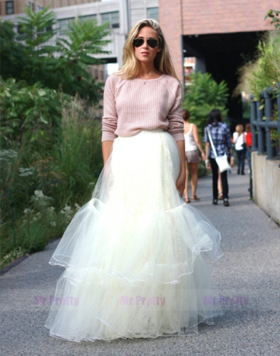 Ivory Tulle Short Train Bridal Skirt