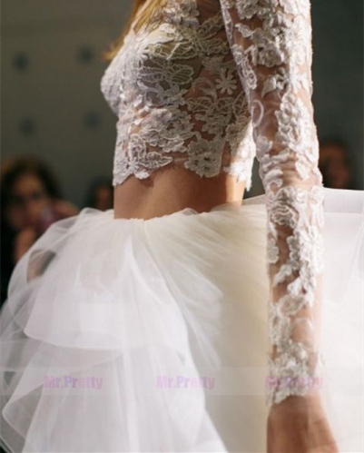 Ivory Tulle Lace Short Train Bridal Skirt Wedding Gown