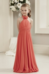 Coral chiffon Flower Girl Dress Junior Bridesmaid Dress