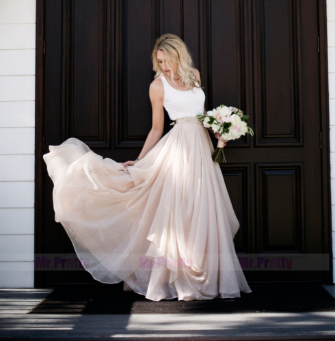 2 Pieces Blush Pink Wedding Dress Chiffon Bridal Gown