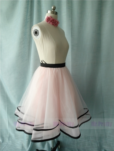 Light Pink/Black Tutu Skirt Party Skirt Short Skirt
