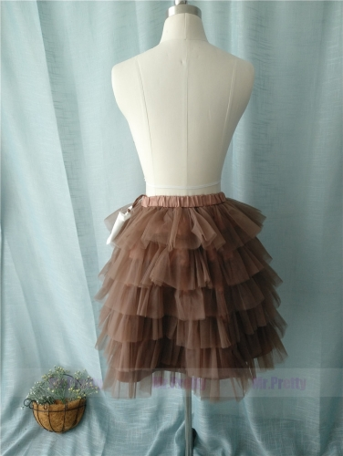 Brown Coffee Tutu Skirt Party Skirt Short Skirt