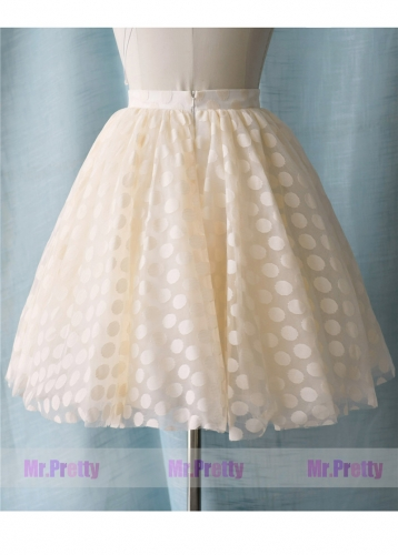 Light Champagne Short Polka Dots Tulle Skirt Party Skirt/Kids Skirt