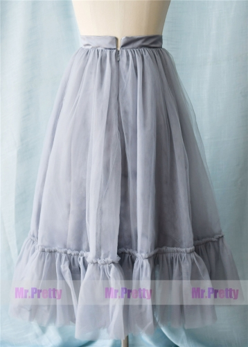 Dusty Grey Ankle Tulle Skirt Party Bridesmaid Skirts