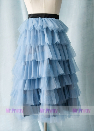 Dusty Blue High Low Tulle Skirt Party Bridesmaid Skirts