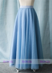 Dusty Blue Long Tulle Skirt Party Bridesmaid Skirts
