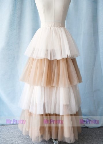 Light Champagne Brown Long Tutu Skirt Party Skirt