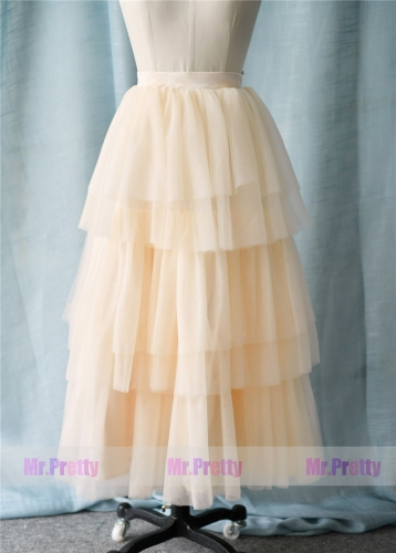 Light Champagne Long Tulle Skirt Party Bridesmaid Skirts