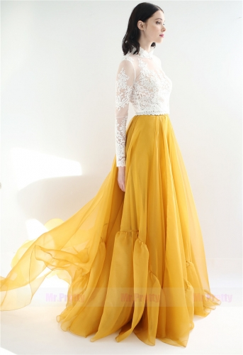 Gold Organza Silk Long Train Skirt Party Bridal Skirt Ivory Lace Top