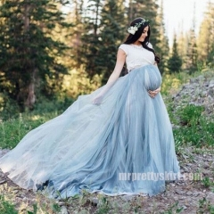 Blue Grey Long Train  for Maternity Skirt Pregnant Skirt