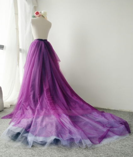 Mixed Color Long Train Skirt Parenting Bridal Skirt