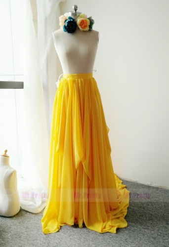 Yellow Color Long Train Skirt Chiffon Skirt
