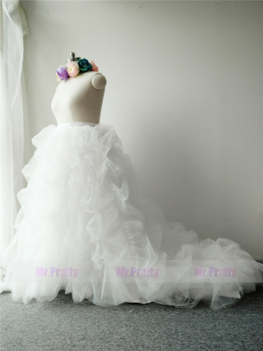 Ivory Color Long Train Skirt Tulle Ruffle Skirt