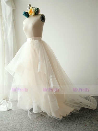 Light Champagne Long Train Skirt Tulle Skirt
