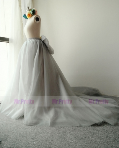 Grey Long Train Skirt Tulle Bow Skirt