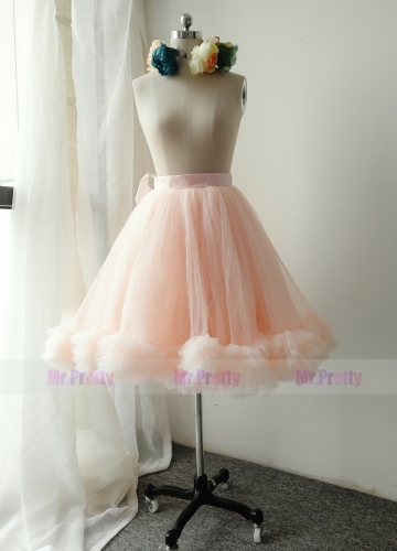 Blush Pink/Kid Short Tulle Skirt Party Bridesmaid Skirts