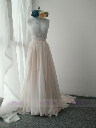 Blush Color Long Train Skirt Silk Chiffon Skirt
