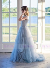Grey Blue Lace Tulle  Bridal Dress 2 Pieces Bridal Skirt