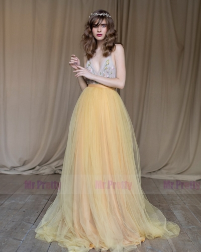 yellow Soft Tulle  Long Train Wedding Skirt Bridal Skirt Suit