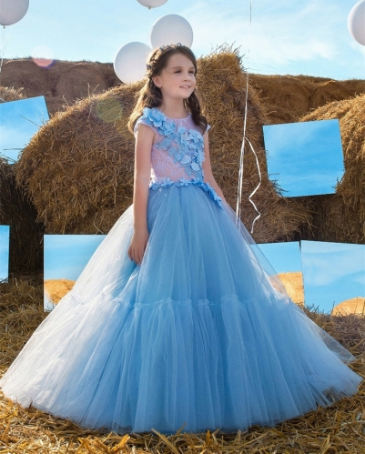 Blue Lace Tulle Tutu Flower Girl Dress Girls Party Dress