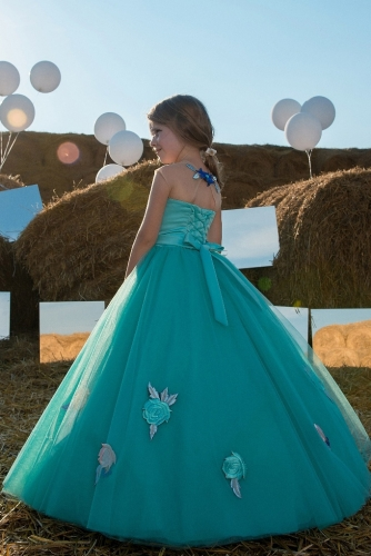 Blue Green Flower Girl Dress Girls Party Dress
