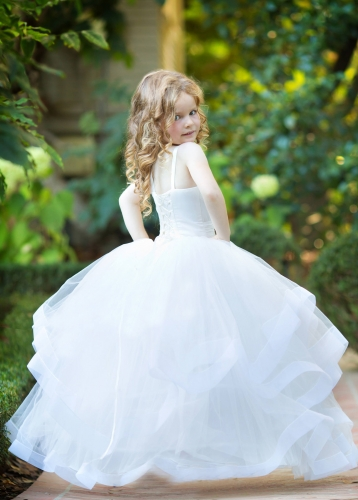 Ivory Lace Tulle Girls Party Dress Holiday Dress