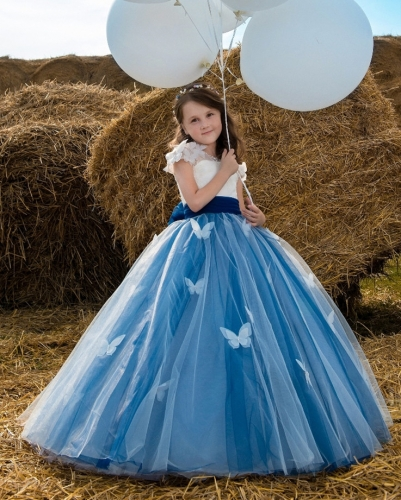 Dark Blue Lace Tulle Tutu Flower Girl Dress Girls Party Dress