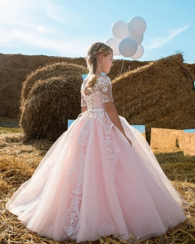 Pink Ivory Lace Tulle Tutu Flower Girl Dress Girls Party Dress