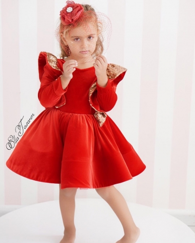 Red Velvet Girls Party Dress Holiday Dress Christmas Dress