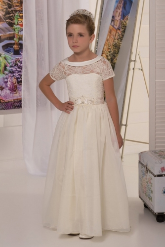 Ivory Lace Organza Flower Girl Dress Girls Party Dress