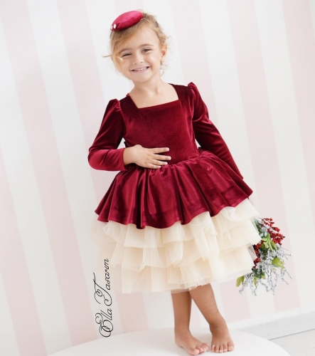 Burgundy Velvet Girls Party Dress Holiday Dress Christmas Dress