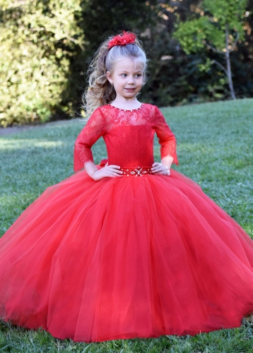Red Lace Tulle Girls Party Dress Holiday Dress
