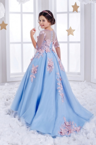 Light Blue Flower Girl Dress Girls Party Dress