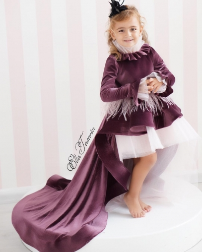 Purple Velvet Girls Party Dress Holiday Dress Christmas Dress