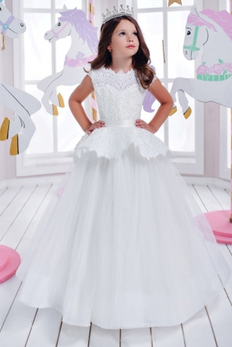 White Lace Organza Flower Girl Dress Girls Party Dress